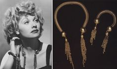 """Lucille Ball wears a Joseff of Hollywood necklace and bracelet set. The company provided much of the jewelry seen in """"I Love Lucy"""" and was even a plot point in an episode."""