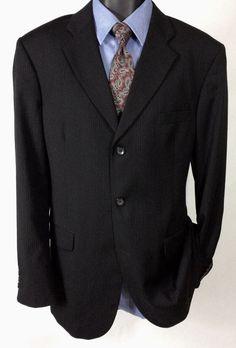 (42L) J Ferrar Suit Jacket | Men's Modern Black Pinstriped 3 Button Sport Coat #JFerrar #ThreeButton