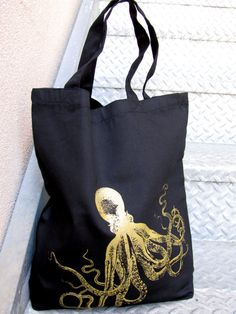 Tote Bag Black Cotton  Gold Octopus  Large by IledanDesignStudio, $12.00