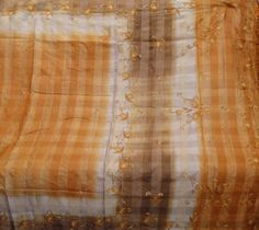 Vintage Antique Pure Silk Saree Heavy Indian Embroidered Khadi Sari  #Unbranded