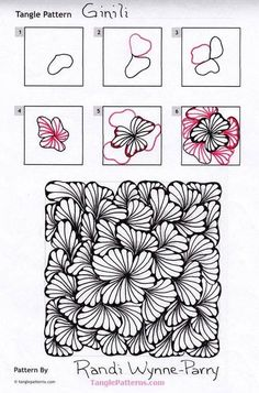Ginili pattern by Randi Wynne-Parry zentangle tangled tangle tangles doodle doodles art calm peaceful relaxation relax unwind meditation Doodles Zentangles, Zentangle Drawings, Doodle Drawings, Zentangle Art Ideas, Easy Drawings, Easy Zentangle Patterns, Art Doodle, Tangle Doodle, Doodle Art Designs