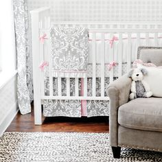 I don't know about the damask print... but pink & gray is what I want, and I really like this soft shade of gray.
