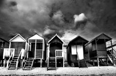 Thorpe Bay beach huts in black and white