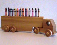 Items similar to Wooden Truck Crayon Holder - Birthday Gift Kids - Crayons Included - All Natural Finish - Classic Educational Toy - Eco Friendly Kids Toy on Etsy Wooden Toy Trucks, Wooden Car, Woodworking Toys, Woodworking Projects, Wooden Projects, Wood Crafts, Making Wooden Toys, Crayon Holder, Wood Toys Plans