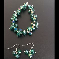 Luck of the Irish Bracelet and Earrings HP Handmade one of a kind green glass beads with silver accents.. Great bling accessory!  Bracelet 8 inches Handmade Jewelry Bracelets