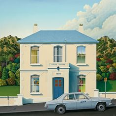 Cops and Robbers by Christchurch artist Hamish Allan. Art-prints available from… New Zealand Houses, New Zealand Art, Christchurch New Zealand, Cops And Robbers, New Zealand Landscape, Nz Art, Police Station, Print Store, Beach Art