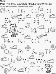 Free: Pete The Cat (by James Dean and Eric Litwin) Alphabet Handwriting Practice...capitals and lowercase letters. Freebie For A Teacher From A Teacher. Enjoy! Regina Davis aka Queen Chaos at Fairy Tales And Fiction By 2.