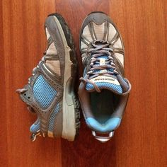Montrail hiking shoes Gray and blue hiking shoes. Used some but in really good shape. Just washed. Very comfortable. Inside it says 7/38 - they fit like. 71/2 or 8 Montrail Shoes Athletic Shoes