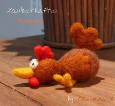 Zauberhafte Henne, handgefilzt von Filz-Michel auf DaWanda.com