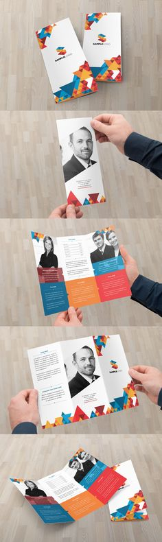 Modern Geometric Trifold Brochure Template InDesign INDD