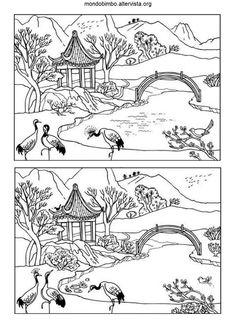 disegno trova le differenze casa cinese colorare