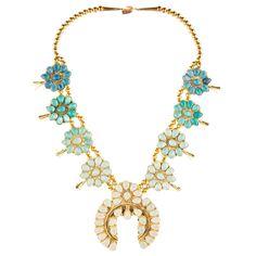 Ombre Squash Blossom Necklace, Blue