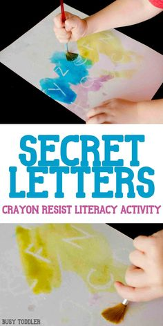 Secret Letters Activity: an awesome crayon resist literacy activity thats so much fun! A quick and easy indoor activity for toddlers and preschoolers; alphabet activity activities for toddlers preschool Indoor Activities For Toddlers, Art Activities For Preschoolers, Science Activities For Toddlers, Preschool Science Experiments, Art For Toddlers, Easy Crafts For Toddlers, Alphabet For Toddlers, Painting With Toddlers, Art Projects For Toddlers