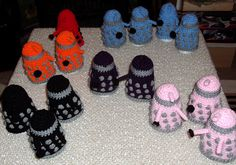 dalek egg cosies! Stole this one from Susie. I have to make these - but not in rainbow colors. haha
