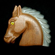 Horse Brooch Pin Wood and Lucite Vintage