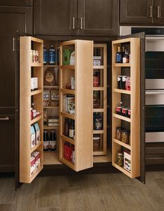 This swing-out pantry packs a walk-in's worth of dry goods into one compact footprint.