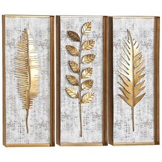 Shop Set of 3 Modern 32 x 12 Inch Framed Leaves Wall Decor by Studio 350 - On Sale - Ships To Canada - Overstock - 20445084 Metal Leaf Wall Art, Gold Leaf Art, 3 Piece Wall Art, Wall Art Sets, Frames On Wall, Framed Wall Art, Gold Wall Art, Art Deco Wall Art, Art Frames