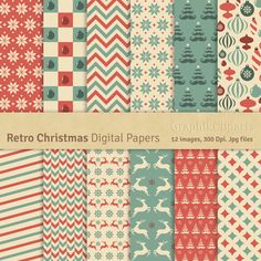 Retro Christmas Digital Papers. Christmas Digital Papers. Vintage Christmas. 12 images, 300 Dpi. Jpg files. Instant Download.