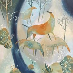 High Country Horses by Tracie Grimwood Art And Illustration, Illustrations, Fairytale Art, Naive Art, Equine Art, Horse Art, Whimsical Art, Cute Art, Painting Inspiration