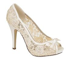 Ivory Lace Bridal Shoes with Bow... and they support breast cancer research so like this seller even more!!