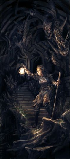 Dungeon Delve 'lost' Picture (2d, fantasy, elf, thief, girl, cave, dungeons and dragons)