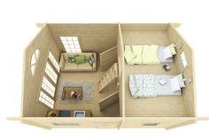 Attefallshus Jack är möjligheternas stuga för dig som vill ha ett rymligt fritidsboende. Det är gott om plats för både sängplatser, storstuga, matplats och badrum. Small Living, Tiny House, Minimalism, Toddler Bed, Villa, Loft, Interior, Furniture, Big