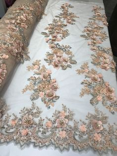 Peach Lace Flower Bridal Fabric Floral - Embroidered Mesh Beaded By The Yard - Perlen Embroidery Suits, Floral Embroidery, Beaded Embroidery, Hand Embroidery, Embroidery Designs, Lace Fabric, Fabric Flowers, Bridal Fabric, Tejidos