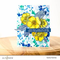 Bright and juicy yellow, blue and green color combination for a life-loving card. The sentiment and floral stamps are from the Adore You stamp set. The ink splash background was created using A Splash of Color stamp set. www.altenew.com