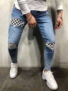 elegant casual men outfit ideas with jeans for any season 38 Diy Jeans, Men's Jeans, Elegant Casual Men, Men Casual, Ripped Denim, Denim Pants, Plaid Pants, Skinny Jeans, Streetwear Jeans