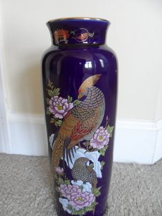 Large Oriental Vase Cobalt Blue Made in Japan by Ecclecticities, $55.00