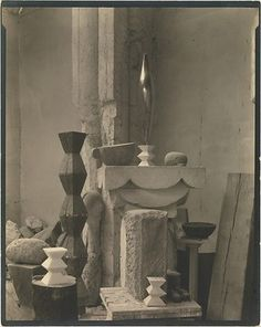 "cavetocanvas: "" Edward Steichen, Brancusi's Studio, c. 1920 From the Metropolitan Museum of Art: "" Steichen lived in Paris on and off from 1900 to making paintings and photographs. A cofounder. Edward Steichen, Brancusi Sculpture, Art Sculpture, Modern Sculpture, Alfred Stieglitz, Studios D'art, Constantin Brancusi, Peggy Guggenheim, 3d Studio"