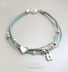 Silver Charm Leather Bracelet  Layered Bracelet Charm by MuseByLAM, $22.00