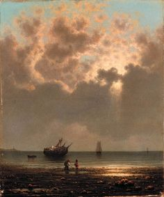 Artwork by Martin Johnson Heade, Sun Breaking Through the Clouds (A Wreck on the Shore), Made of oil on canvas