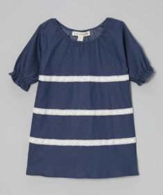 Love this Chambray Lace Stripe Peasant Dress - Toddler & Girls on #zulily! #zulilyfinds