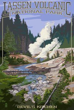 Devil's Kitchen - Lassen Volcanic National Park, CA - Lantern Press Poster