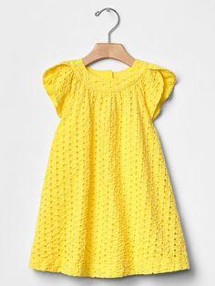 Eyelet tulip-sleeve dress Product Image