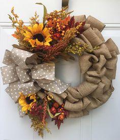 Fall burlap wreath with sunflowers