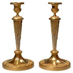 """c1805 Claude Galle - Pair of gilt bronze Candlesticks """"têtes de génies"""", Empire period"""