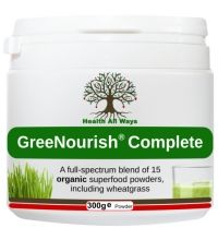 Green Nourish Complete 100% organic superfoods powder blend:   This green powder is packed with an incredible 15 organic superfood, superfruit and herbal ingredients and can be used as a nourishing daily meal replacement, as well as a quick and easy means of increasing your intake of high quality plant protein.