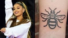 Ariana Grande And Her Crew Got Matching Tattoos In Tribute To Manchester Tattoo Rate, Ariana Grande Tattoo, Geniale Tattoos, Hope Symbol, Bee Tattoo, Memorial Tattoos, Matching Tattoos, Future Tattoos, Deathly Hallows Tattoo