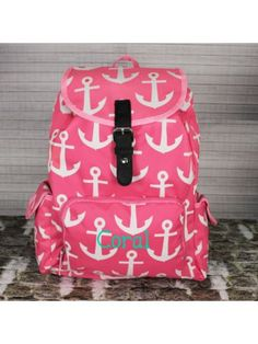 Pink With White Anchors Large Backpack