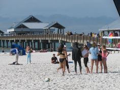 Girls getting ready for beach volleyball at Clearwater Beach next to Pier 60.  #volleyball #clearwaterbeach