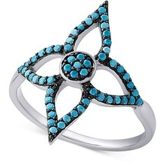 Manufactured Turquoise Flower Ring in Sterling Silver ($30) ❤ liked on Polyvore featuring jewelry, rings, silver, long rings, turquoise jewelry, turquoise jewellery, blue turquoise jewelry and turquoise rings