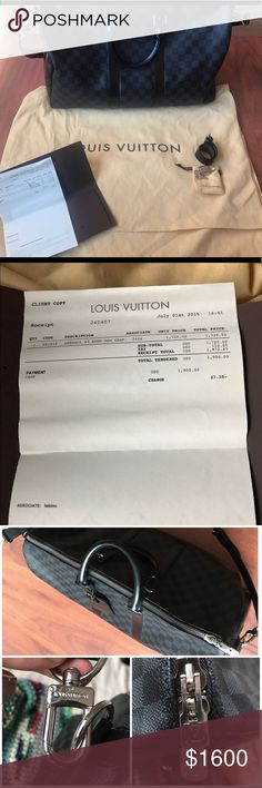 Louis Vuitton Keepall 45 Duffle bag 100% authentic Louis Vuitton Keepall. MINT CONDITION. Worm 2 times. No marks/wear/tears. Comes with dust bag, shoulder strap & lock/key. 17.7 x 10.6 x 7.9. This was purchased for $1872. Receipt shown in photo. Reasonable offers ONLY!!! Please ask question and for more photos. Louis Vuitton Bags Travel Bags
