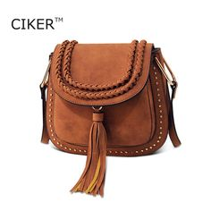 CIKER Vintage Tassel Rivet Women Messenger Bags Famous Brands Ladies Bag Fashion Designer Handbags High Quality Bolsas Femininas