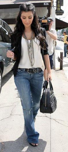Street style denim, white shirt and blazer on Kim Kardashian