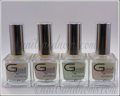 Glitter Gal Bottle Shots 2 by NailsandNoms..From Left to Right:    Transitions Soft Blue  Transitions Soft Violet  Transitions Soft Green  Transitions Soft Red