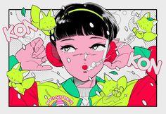 電Q | DenQ Colorful Art, Illustrations And Posters, Illustration, Retro Art, Cute Art, Digital Art Design, Pretty Art, Magical Art, Aesthetic Art