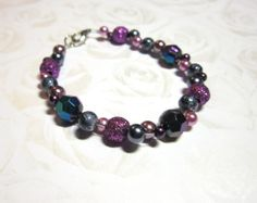 Items similar to Shiny beaded bracelet on Etsy Handmade Jewelry, Unique Jewelry, Handmade Gifts, Heart Jewelry, Beaded Bracelets, Jewellery, Trending Outfits, Purple, Hot
