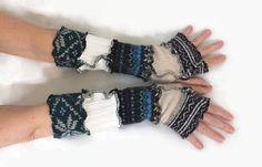 Upcycled Fingerless Gloves Blue Black White   #fun #fashion